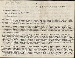 Maude Pettyjohn typed letter signed to Bartolomeo Vanzetti, Dayton, Wash., 12 October 1923