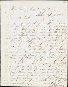 A.I. Salinas, Aiken, S.C., autograph letter signed to Ziba B. Oakes, 6 September 1854