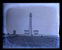 Lighthouse at Cape May Point, [NJ]. Father & Bess in background, Mother in foregr[oun]d