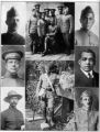 Overseas secretaries of the YMCA; Left top: E. L. Snyder; Left center: J. A. Croon; Below: Moses A. Davis; Center top: Group of Y secretaries ready to set sail for France; Below: B. F. Seldon behind the lines in France just emerging from the trip throu...