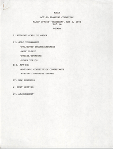 Agenda, ACT-SO Planning Committee, NAACP, May 5, 1993