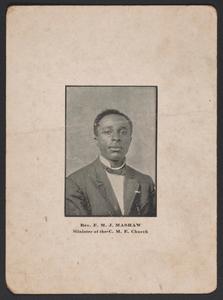 Advertisement card for Rev. F. M. J. Mashaw