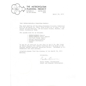 Letter, Metropolitan Planning Project, April 22, 1975.