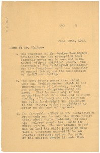Memo from W. E. B. Du Bois to Walter F. White