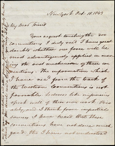 Letter from David Lee Child, New York, to Maria Weston Chapman, Oct. 18, 1843