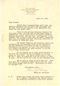 Circular letter from Alpha Pi Alpha to W. E. B. Du Bois