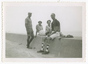 Digital image of men and women at the beach on Martha's Vineyard