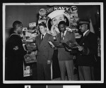 Naval recruiters provide information to potential recruits, circa 1946-1950, Los Angeles