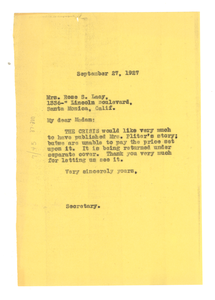 Letter from Crisis to Rose S. Lacy