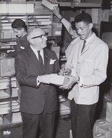 Bill Savitt with employees, 35 Asylum Street, Hartford