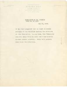 Memorandum from W. E. B. Du Bois to James Weldon Johnson