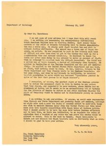 Letter from W. E. B. Du Bois to Frank Tannenbaum