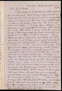 Letter from Samuel May, Leicester, Mass., to Richard Davis Webb, Nov. 7, 1858