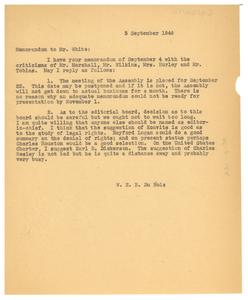 Memorandum from W. E. B. Du Bois to Walter White