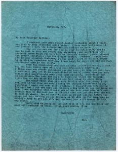 [Letter from Dr. Edwin D. Moten to Myrtle Moten Dabney, March 16, 1947]
