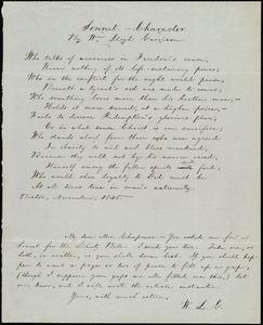 Sonnet from William Lloyd Garrison, Boston, [Mass.], to Maria Weston Chapman, November 1845
