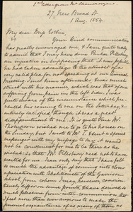 Letter from Louis Alexis Chamerovzow, [New York], to Mary Anne Estlin, 1854 Aug[ust] 1