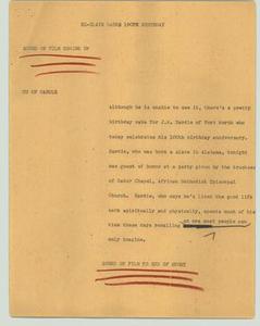 News Script: Ex-slave marks 100th birthday NBC News Scripts