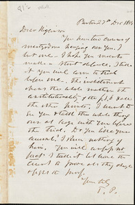 Letter from Theodore Parker, Boston, [Massachusetts], to Thomas Wentworth Higginson, 1854 Dec[ember] 27