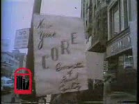 WSB-TV newsfilm clip of picketers from the Congress of Racial Equality outside of an F.W. Woolworth store and a S.H. Kress store demonstrating in support of the North Carolina student sit-ins, in New York, New York, 1960 February 13