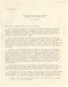 Circular letter from The Association of Colleges and Secondary Schools of the Southern States to The State Teachers College at Montgomery, Alabama