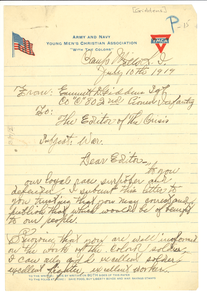 Letter from G. D. M. Giddens to the Crisis