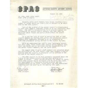 Memo, Citywide Parents' Advisory Council, August 18, 1981.