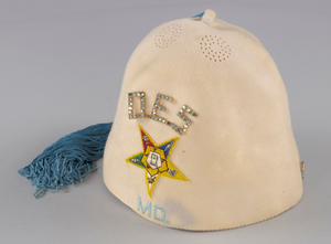 Cream fez worn by a member of the Maryland Order of the Eastern Star