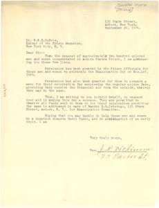 Letter from Auburn State Prison to W. E. B. Du Bois