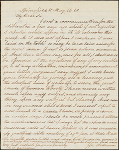 Letter from Jesse Stedman, Springfield, V[ermon]t, to William Lloyd Garrison, [18]63 May 16