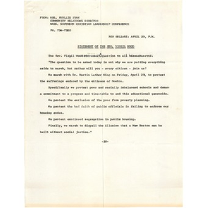 Statement of the Rev. Virgil Wood.