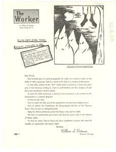 Circular letter from The Worker to W. E. B. Du Bois