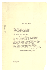 Letter from W. E. B. Du Bois to Edward J. Davis