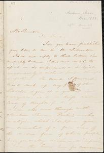 Letter from Harriet Beecher Stowe, Andover, [Massachusetts], to William Lloyd Garrison, 1853 Nov[ember] 30