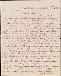 A. J. McElveen, Sumterville, S.C., autograph letter signed to Ziba B. Oakes, 6 January 1852