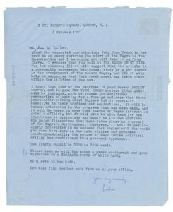 Aerogram from Cedric Dover to W. E. B. Du Bois