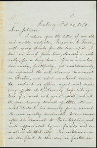 Letter from William Lloyd Garrison, Roxbury, [Mass.], to Oliver Johnson, Feb. 24, 1874