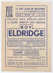 Advertisement for Roy Eldridge at the Palais des Beaux Artes in Brussels, Belgium
