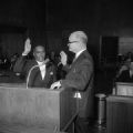 Arthur Shores being sworn in as a councilman in the city council chambers at city hall in Birmingham, Alabama.