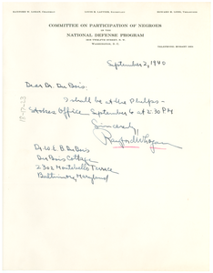 Letter from Rayford W. Logan to W. E. B. Du Bois