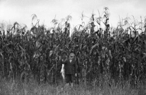 Barker boy with big fish in front of his demonstration plot of corn (white)