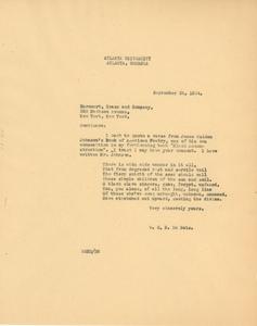 Letter from W. E. B. Du Bois to Harcourt Brace & Company