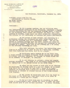 Letter from Sidney M. Van Wyck, Jr. to National Association for the Advancement of Colored People