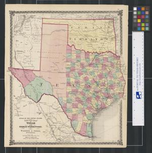County Map of Texas and Indian Territory.