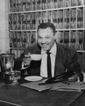 Joe Adams takes coffee break at radio station