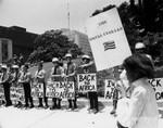 Girl counter-demonstrates