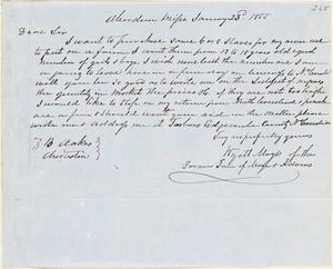 Wyatt Maye, Aberdeen, Miss., autograph letter signed to Ziba B. Oakes, 23 January 1855