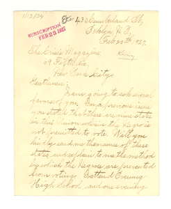 Letter from Athel King to The Crisis