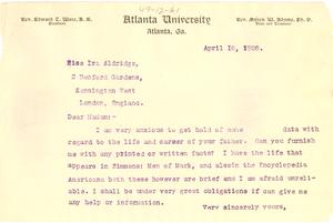 Letter from W. E. B. Du Bois to Miss Ira Aldridge
