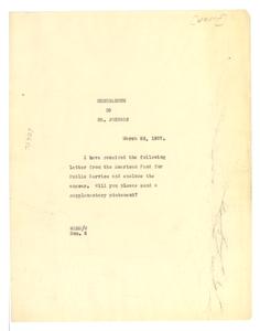 Memorandum from W. E. B. Du Bois to James Weldon Johnson